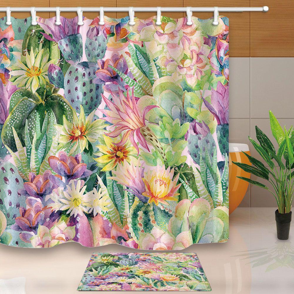 Cactus Flowers Bathroom Waterproof Fabric Shower Curtain Liner