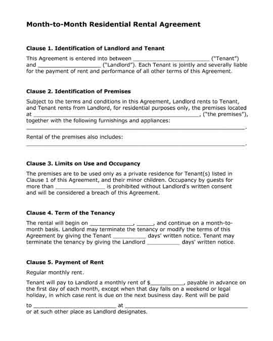 Month-to-Months Residential Rental Agreement Free printable PDF - rental agreement forms
