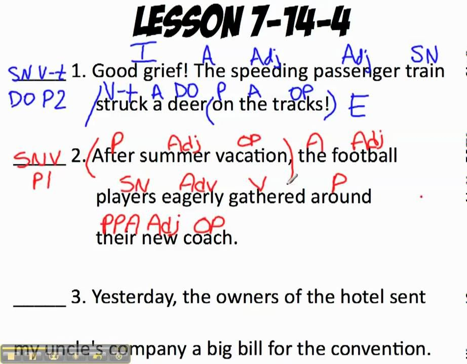 Shurley English Pattern One Sentence Classification Shurley