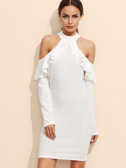 0a143231c605 White Open Shoulder Zipper Back Ruffle Dress