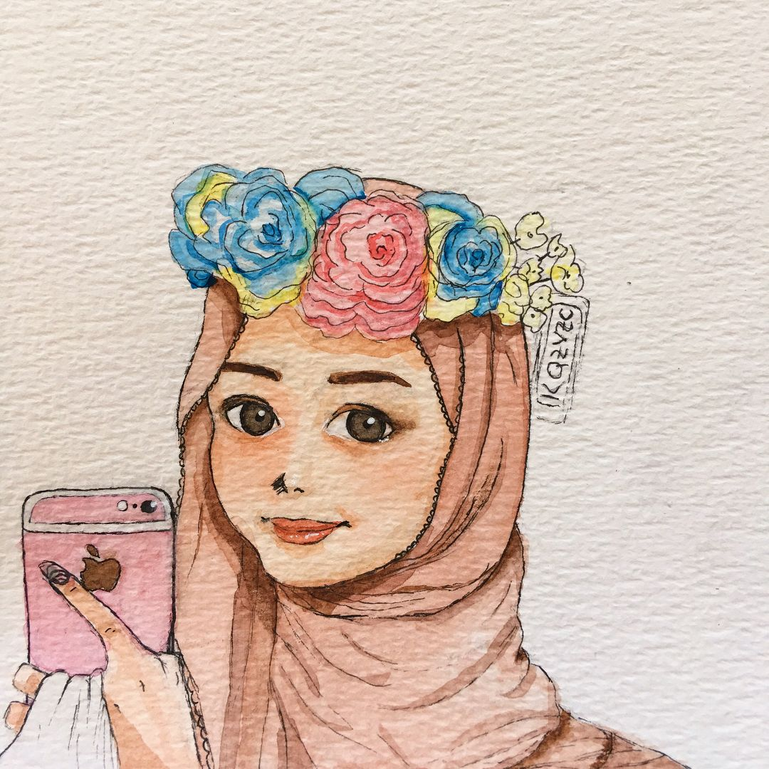 Flowering Hijab Drawing Drawings Art