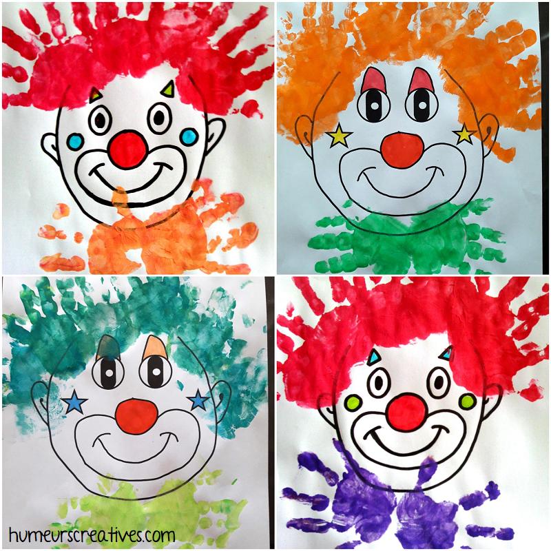 Têtes de clowns en empreintes de mains -