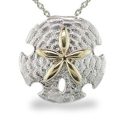 Yellow gold and sterling silver sand dollar pendant chain yellow gold and sterling silver sand dollar pendant chain additional aloadofball Image collections