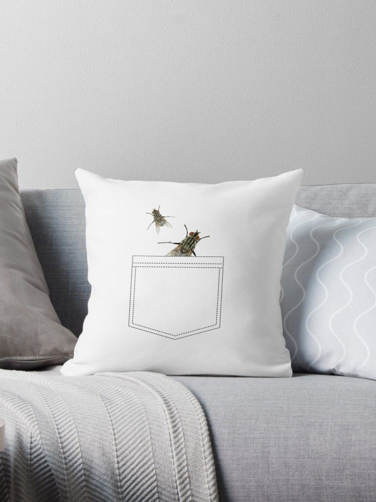 Flies In My Pocket Funny Print T shirt  Throw Pillow by Bithys ... d6a1b968a