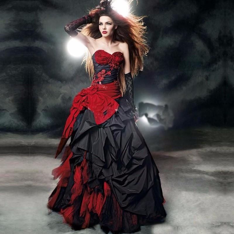 Pin By Selina Shaeffer On Gothic Steampunk Red Wedding Dresses Black Wedding Dress Gothic Halloween Wedding Dresses