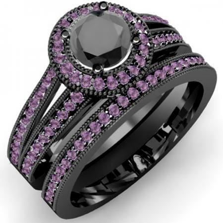1 25 Carat Ctw Black Rhodium Plated 18k White Gold Round Black Diamond Engagement Ring Halo Black Diamond Engagement Ring Set 14k White Gold Engagement Rings