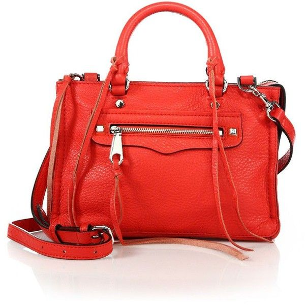 Rebecca Minkoff Micro Regan Leather Satchel (€210) ❤ liked on Polyvore featuring bags, handbags, apparel & accessories, dragon fruit, leather purses, leather satchel handbags, leather satchel purse, real leather handbags and genuine leather handbags