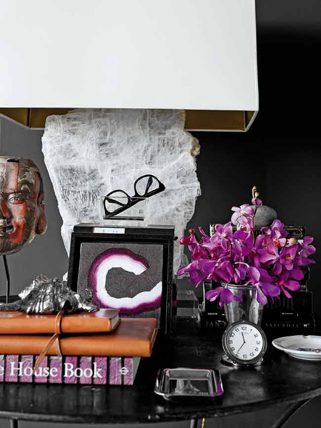 Cool Vignettes | black and purple | home accessories | interior style | interior design | interior inspiration and ideas