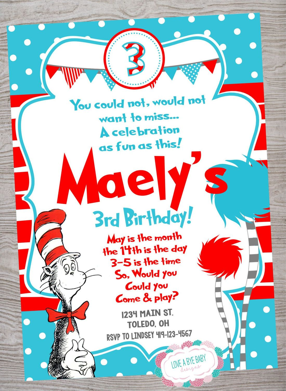 Dr Seuss Lorax Cat In The Hat Party kid birthday party invitation ...