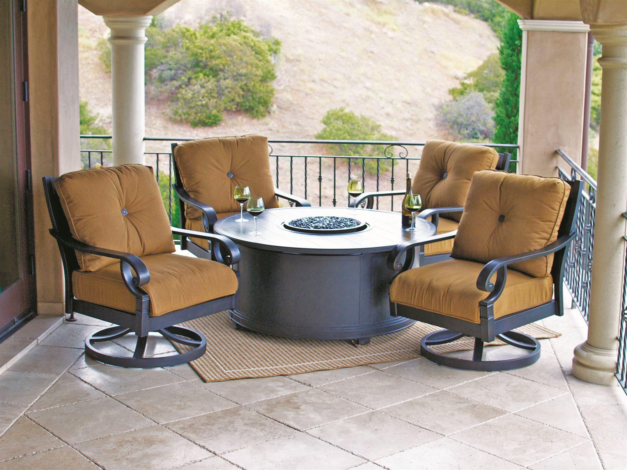 Sunvilla Veritas Aluminum Fire Pit Set Outdoor Furniture Sets Fire Pit Sets Patio Lounge