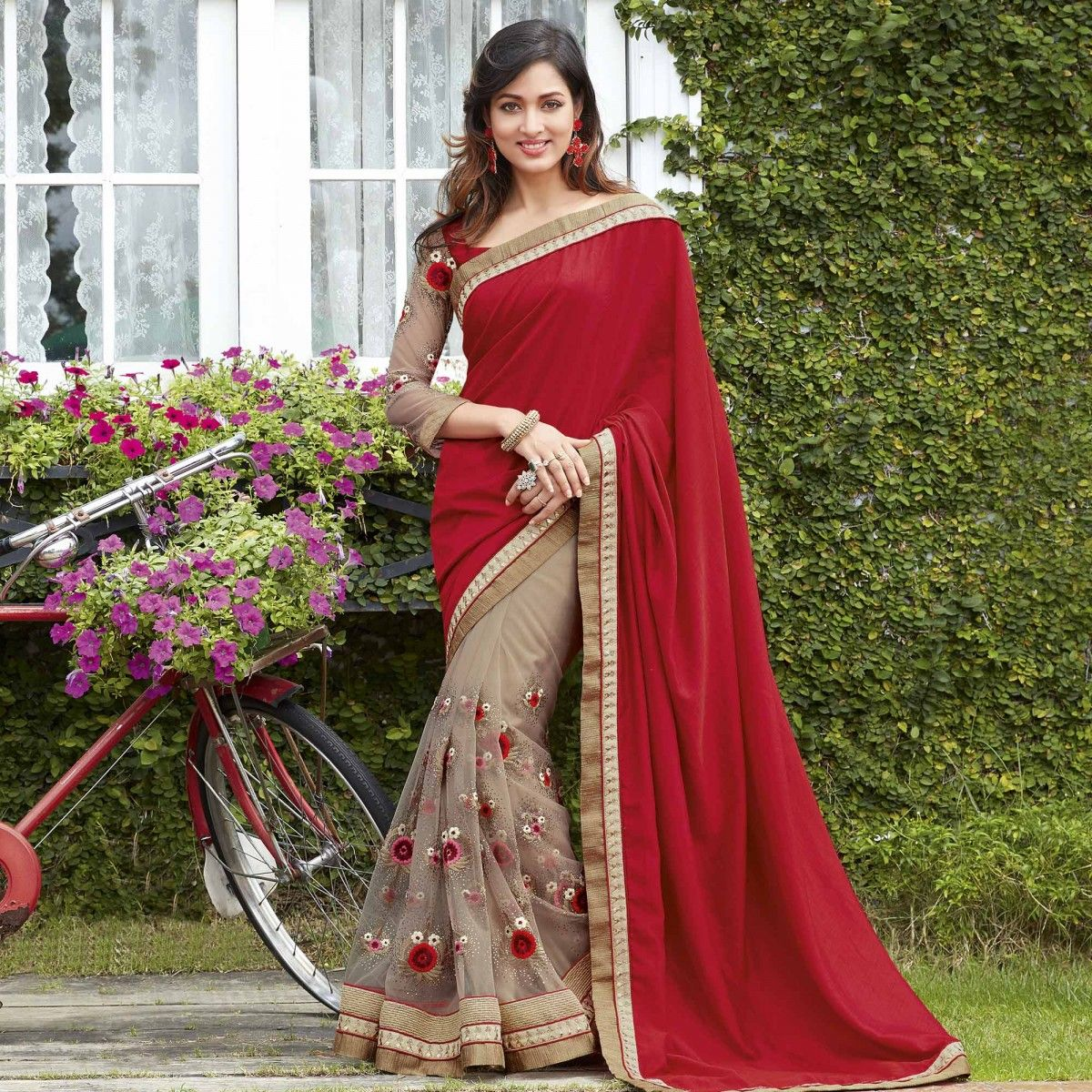 Buy Red Beige Embroidered Work Half Saree For Womens Online India Best Prices Reviews Peachmode Saree Models Half Saree Designs Half Saree