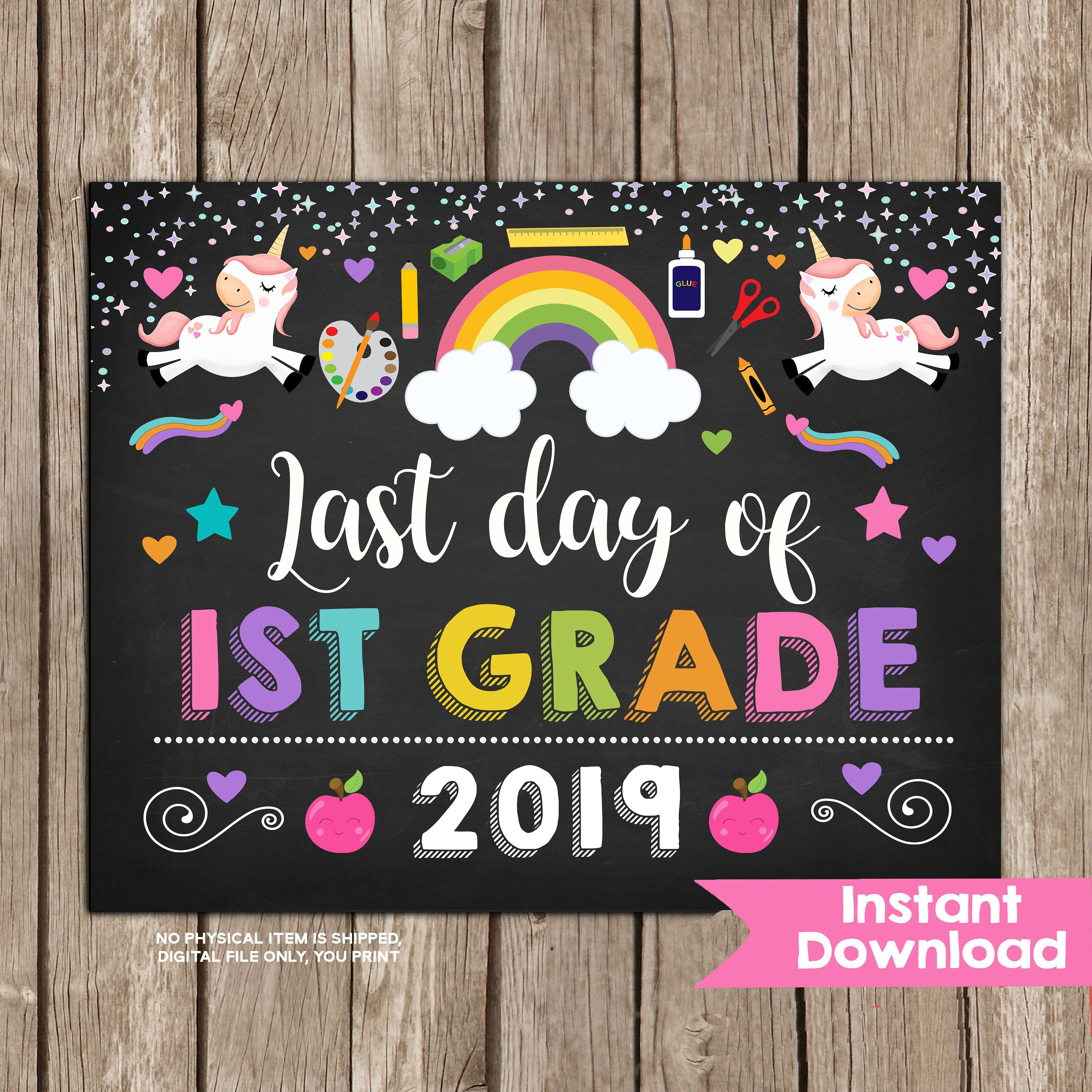 graphic relating to First Day of 1st Grade Printable Sign named Unicorn Remaining Working day of 1st Quality Indication ,Female Previous Working day of To start with