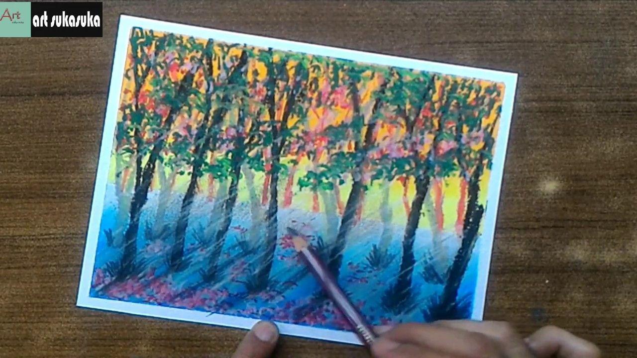 Cara mudah Menggambar Dan mewarnai pemandangan Alam