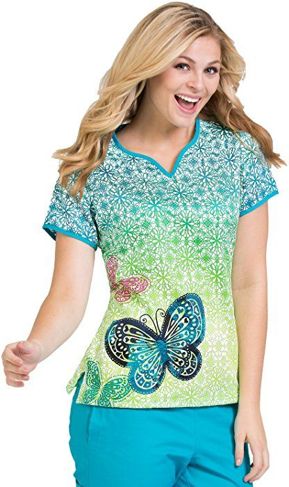 394647e3a0e Amazon.com: Ladies' Print Notch Neck Scrub Top