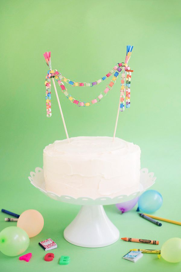 Mini Paper Chain Cake Topper Diy Oh Happy Day Paper Chains