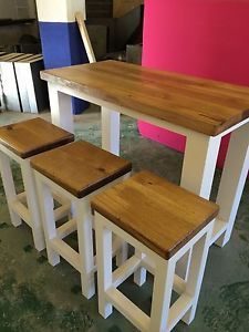Butcher Block Breakfast Bar Kitchen : Solid Oak Handmade Breakfast Bar & 3 Stools - Butchers Block - Kitchen Island home sweet home ...