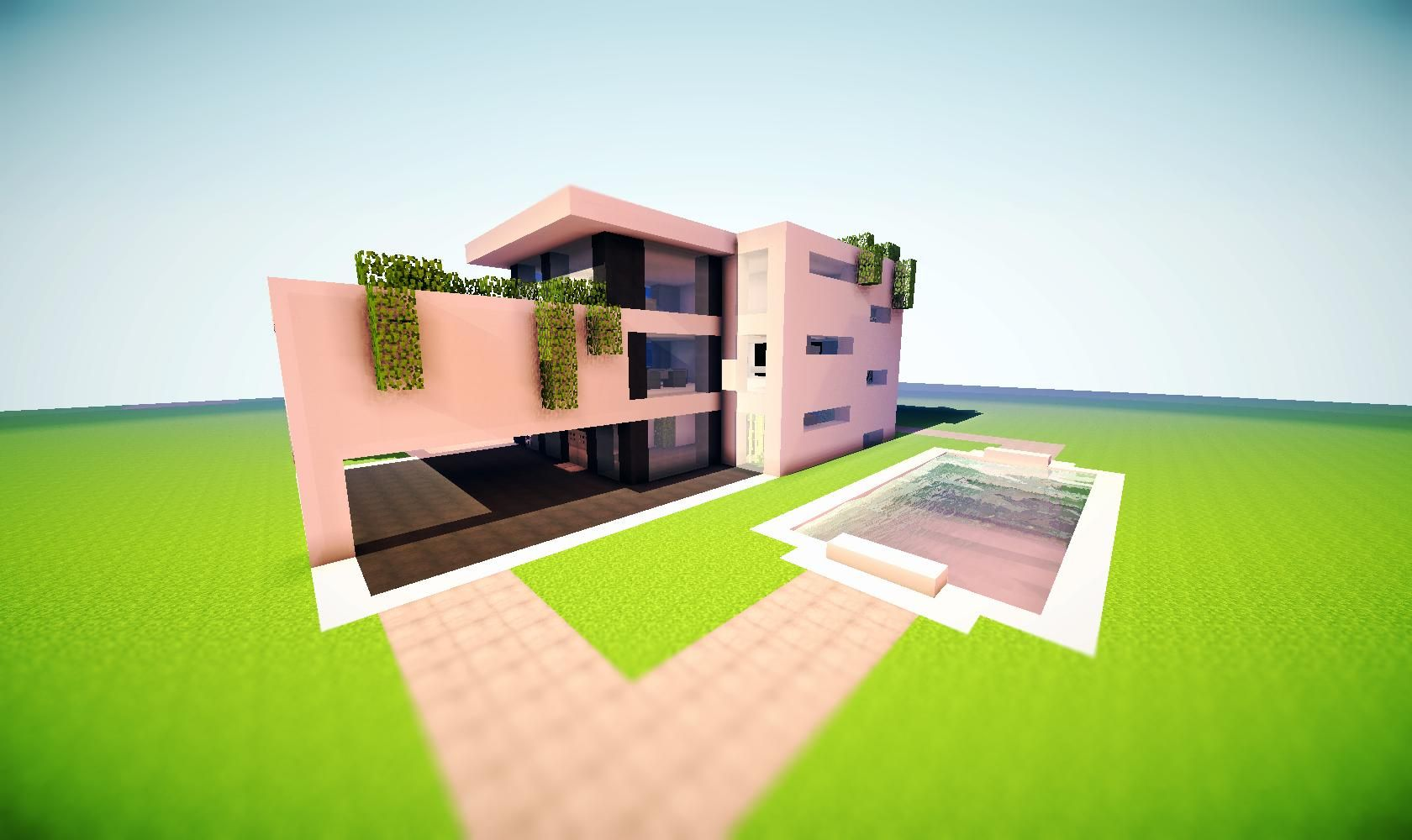 Minecraft modern house render love the over grown greenery