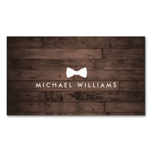 Rustic And Refined Men S Bow Tie Logo Brown Wood Business Card
