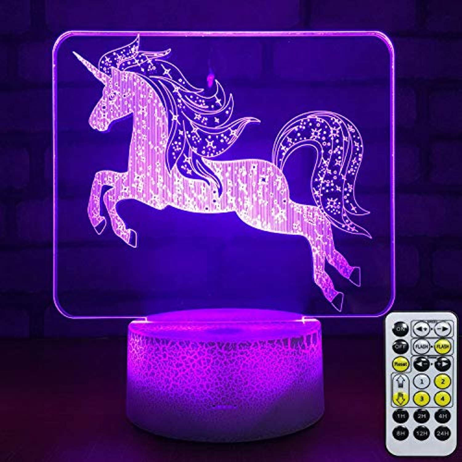 Viran Night Lamp Unicorn 3d Night Light 3d Optical Illusion Lamp 7 Colors Change With Remote Night Lights Fo 3d Night Light Kid Room Decor 3d Optical Illusions