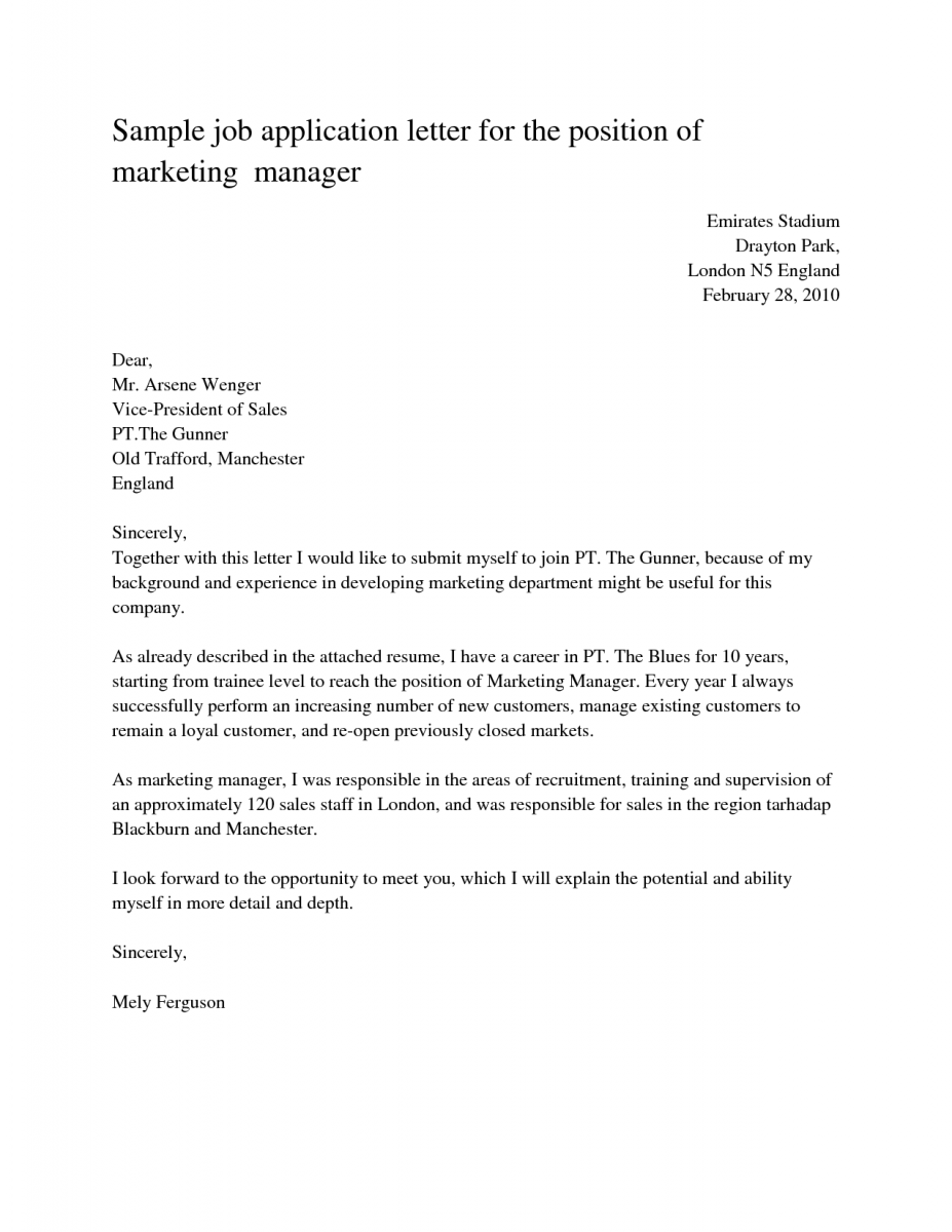 sample cover letters for job application - Example Of An Cover Letter For A Job