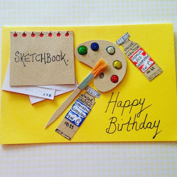 Artist Themed Birthday Card Handmade Paint Palette Happy Birthday Handmade Birthday Cards Happy Birthday Cards Birthday Cards
