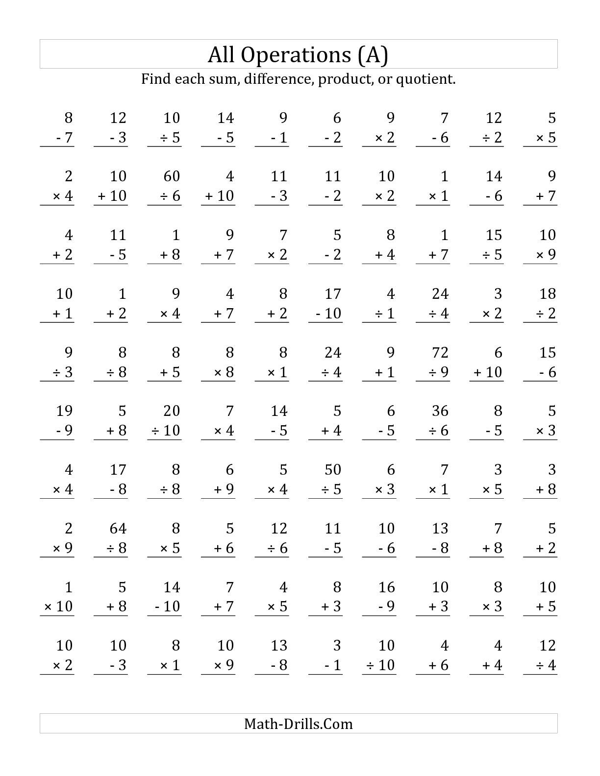 The All Operations With Facts From 1 To 10 A Math Worksheet From The Mixed Operations
