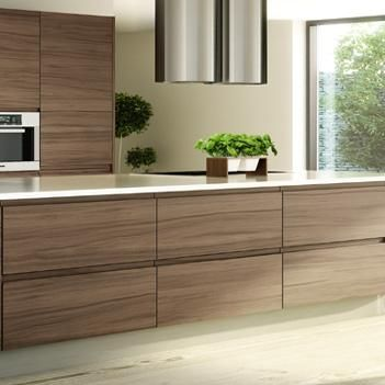 Handleless Walnut Veneer Kitchen From Kb Store Trade Walnut Kitchen Cabinets Walnut Kitchen Natural Wood Kitchen Cabinets