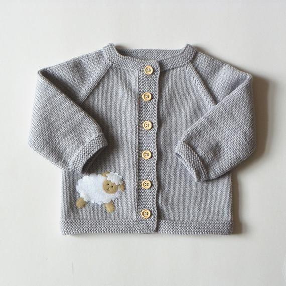 f0c9fa451 Light grey baby swetaer with little lamb merino baby jacket with ...