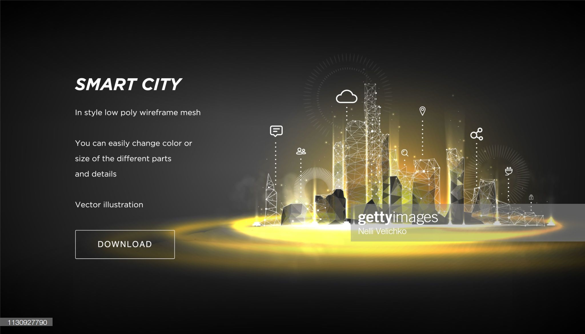Smart City Low Poly Wireframe On Blue Background City Future Abstract Smart City Wireframe Interactive Design
