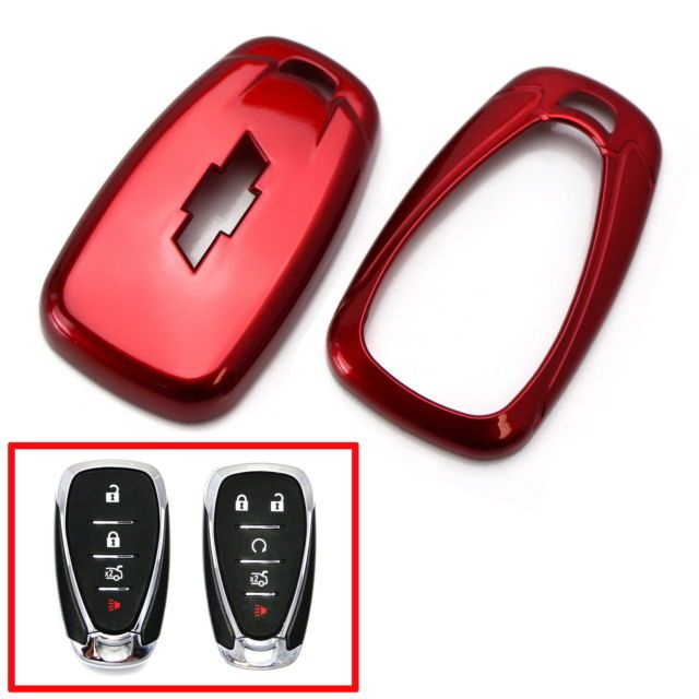 Red Folding Key Fob Shell Cover For 16 Up Chevy Camaro Malibu