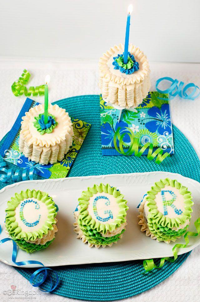 Mini Ruffled Birthday Cakestutorial Dessert recipes Pinterest