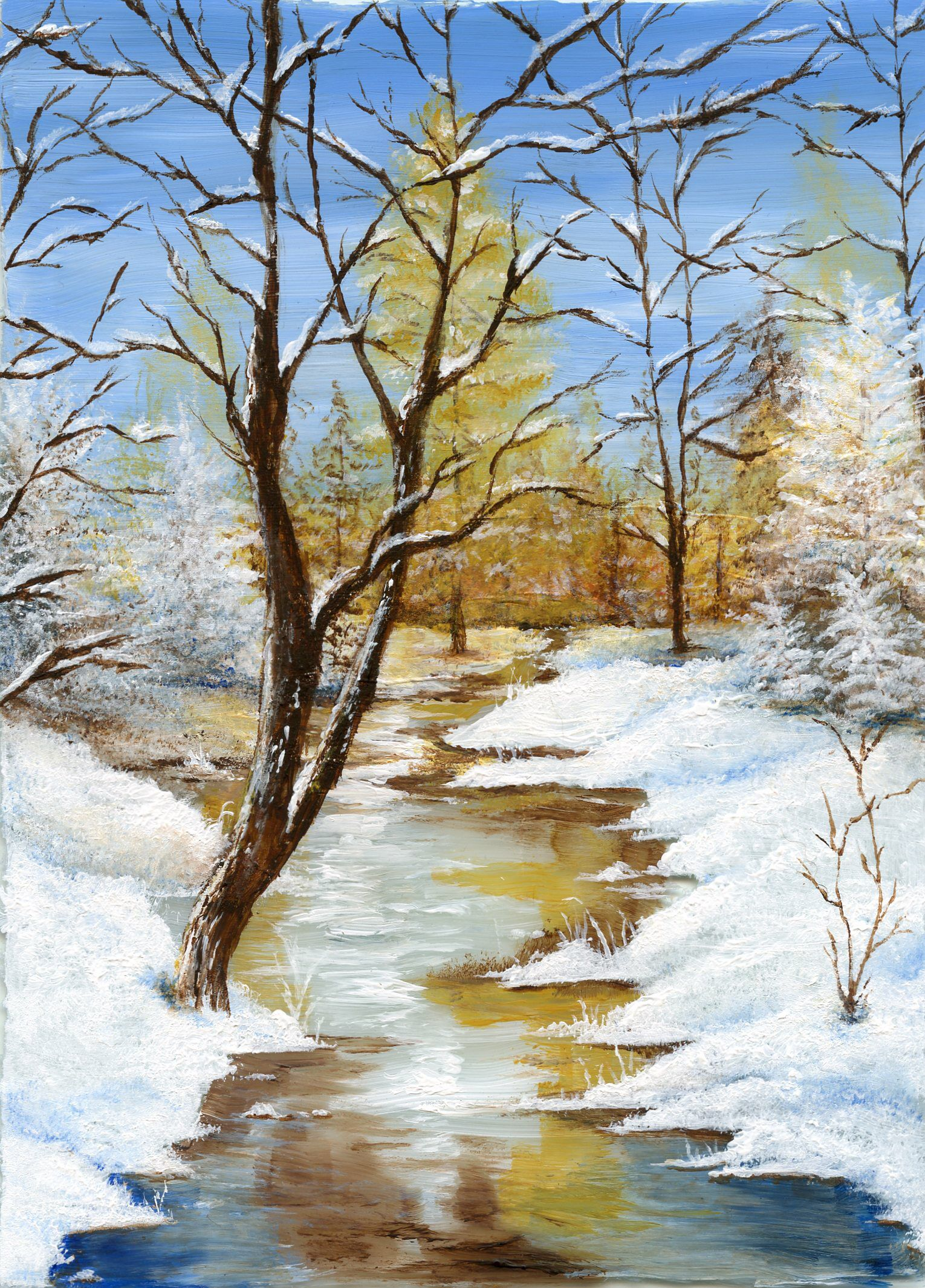 Glass Painting Yellow Fall Winter River Snow Trees Winter Landscape Painting