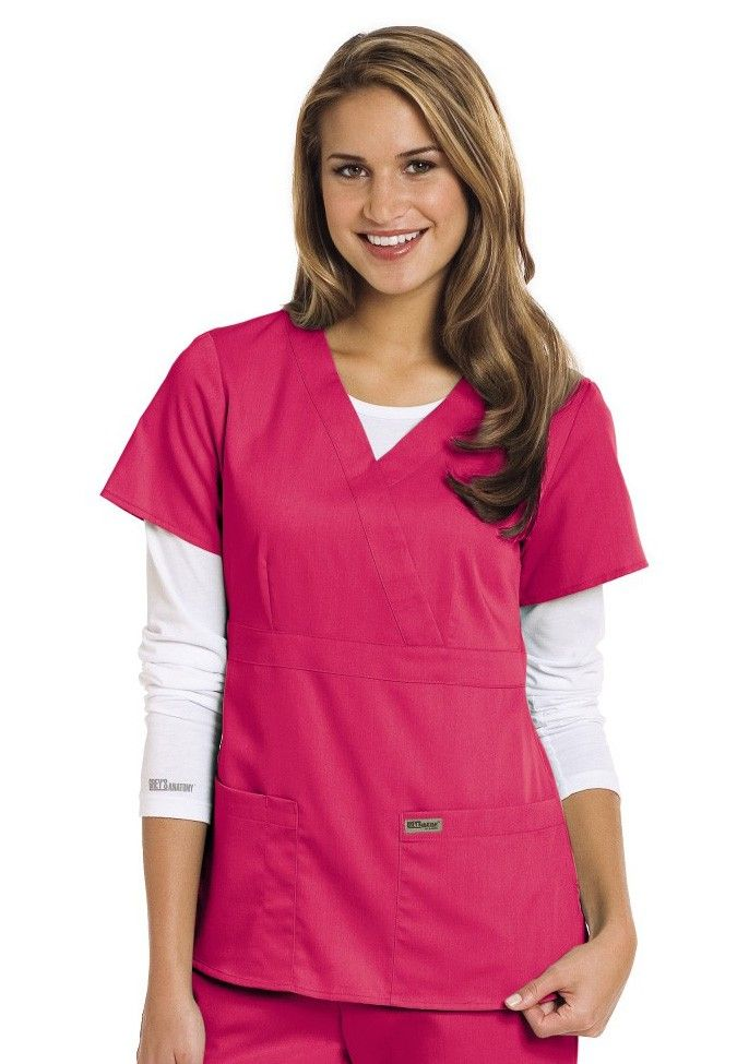 Greys Anatomy 3 Pocket Mock Wrap Scrub Top Style 4153