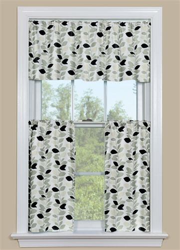 Black and Grey Kitchen Curtain - Leaf Garland Black ...