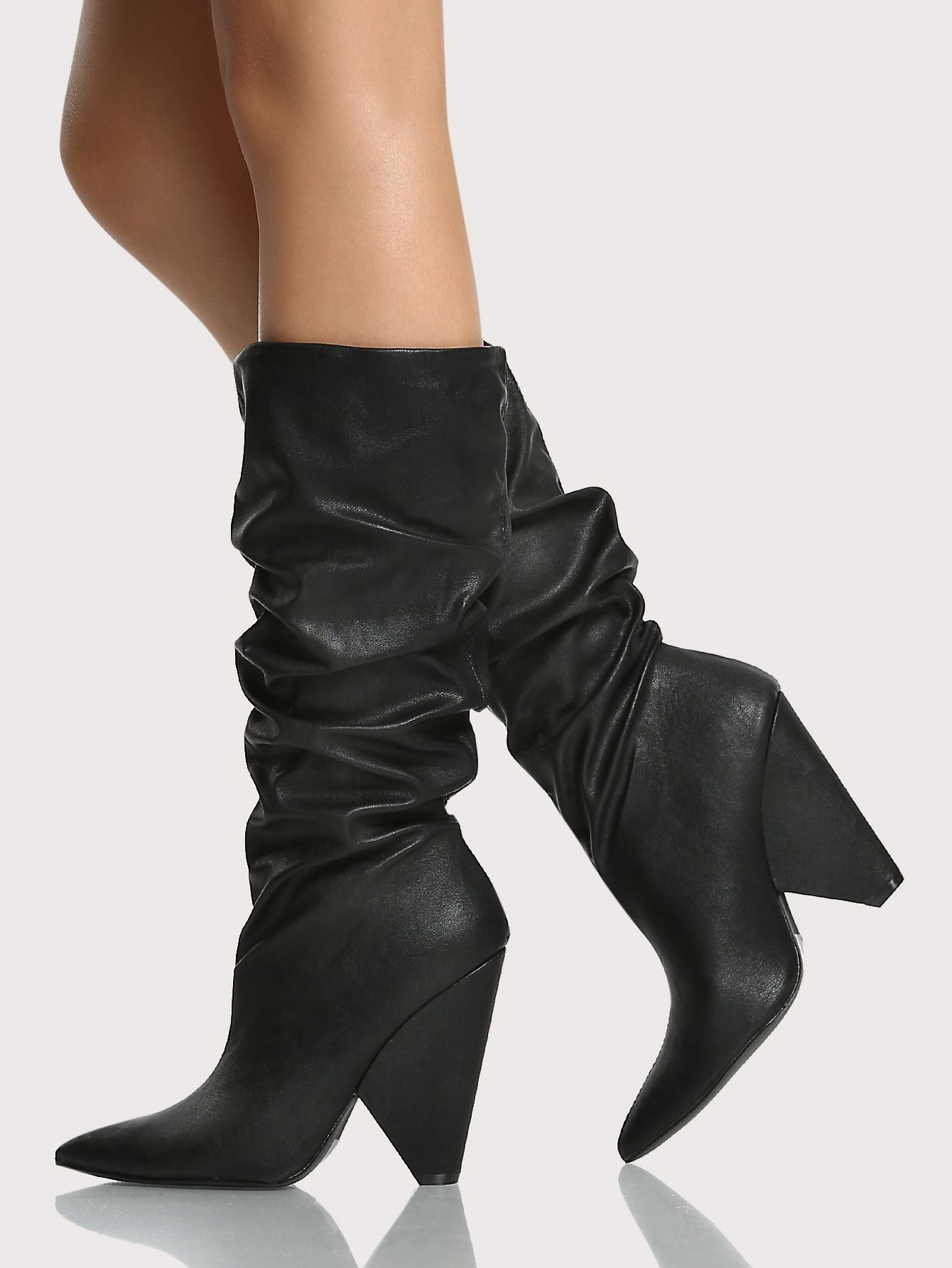 1ff1b5d75b Shop Slouch Triangle Heel Boots BLACK online. SheIn offers Slouch Triangle Heel  Boots BLACK & more to fit your fashionable needs.