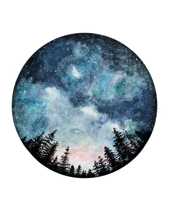 Starry Sky Giclee Print Circle Art Watercolor Art Forest Art