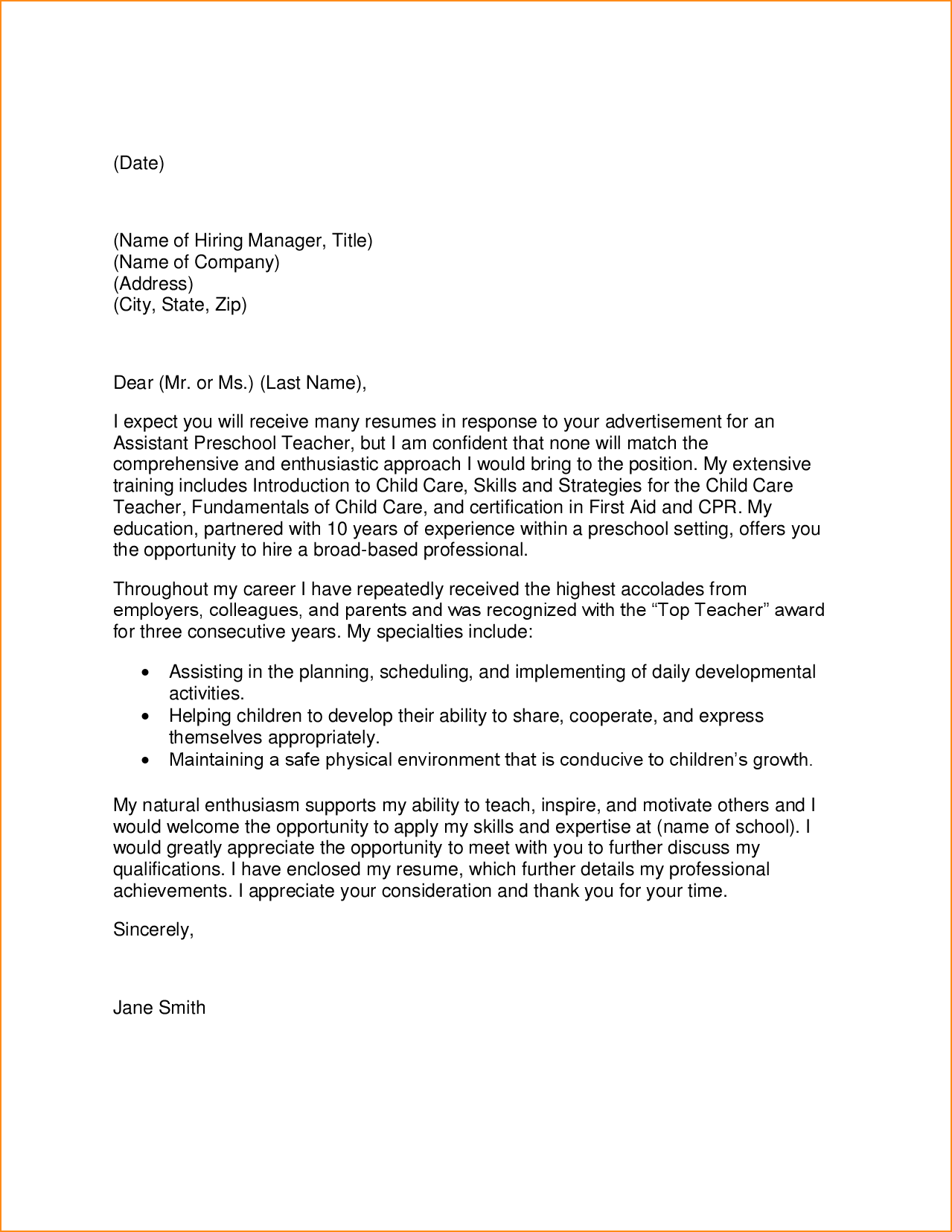 Preschool Assistant Director Cover Letter | Inviletter.co