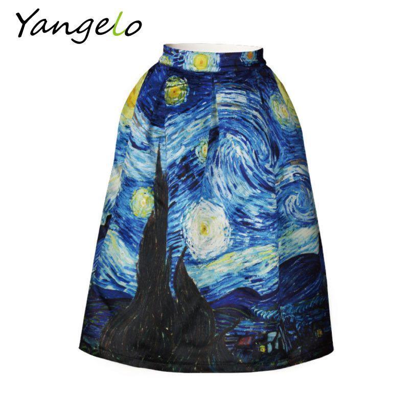 "Vintage Van Gogh Starry Sky Oil Painting 3D Digital Print High Waist Skirt. Gender: WomenWaistline: NaturalDecoration: NonePattern Type: PrintStyle: ""European and American StyleBrand Name: lunoakvoMaterial: AcetateDresses Length: Knee-LengthSilhouette: A-LineModel Number: C1247Material: PolyesterWaistline: EmpireDresses Length: Knee-LengthGender: Women"