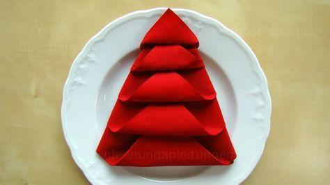servietten falten weihnachten tanne tischdeko weihnachten origami mit servietten diy. Black Bedroom Furniture Sets. Home Design Ideas