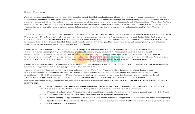Sample Intro Mail Content For Recruitment Solutions Providers To
