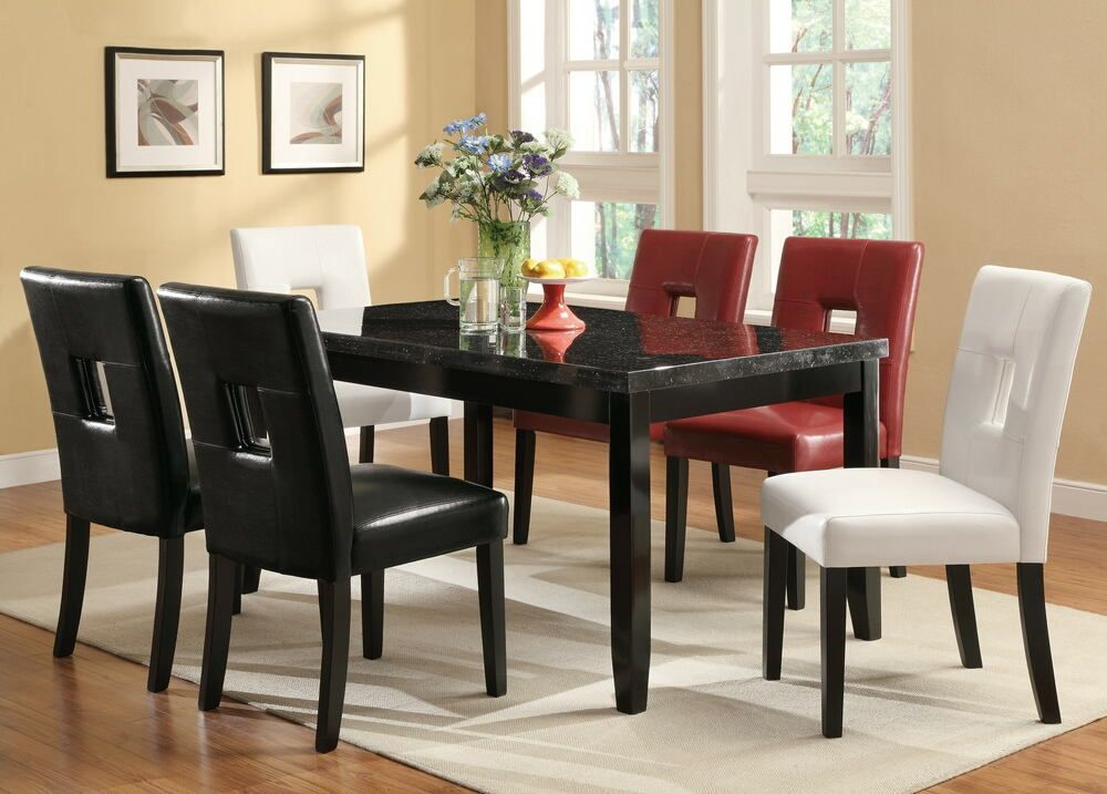103621 103612 7 Pc Newbridge Collection Espresso Finish Wood Faux Marble Top Dining Table Set With Red Black Or