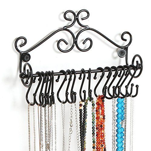 Jewelry Organizer Rack Holder Scrollwork w 20 Hanging S Hooks