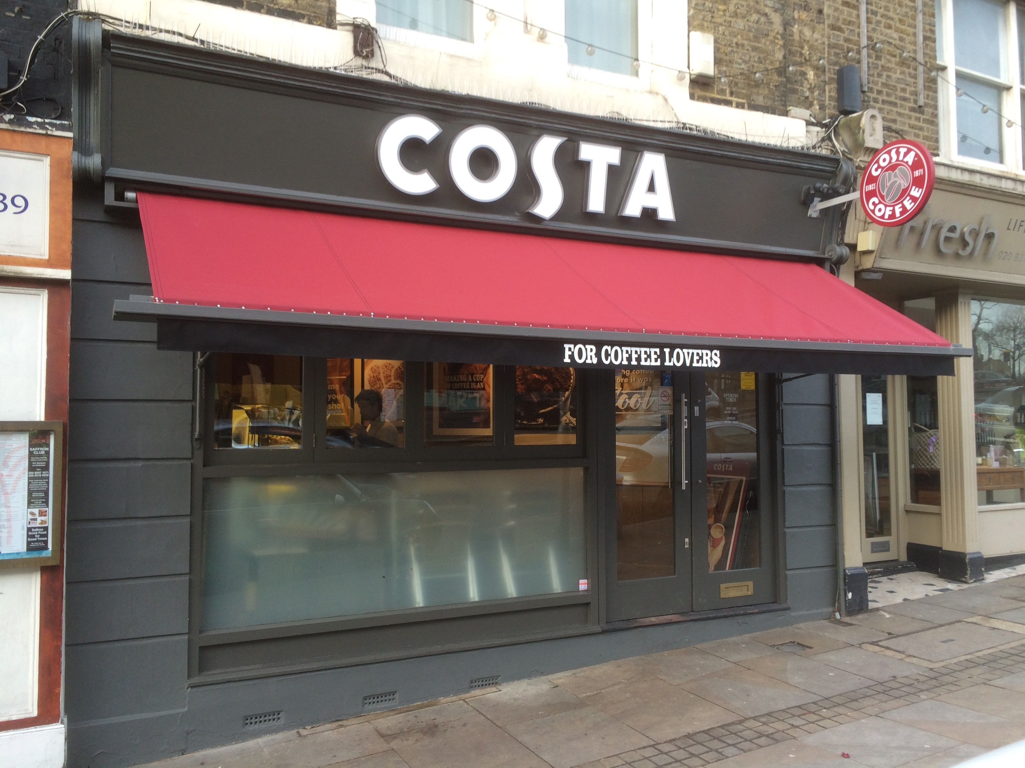 A New Awning Installed At Costa Coffee Blackheath London Costa Coffee Shop Coffee Shop Design Coffee Shops Interior