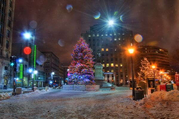 Monument Square at Christmas in Portland, Maine featuring a giant Christmas tree…