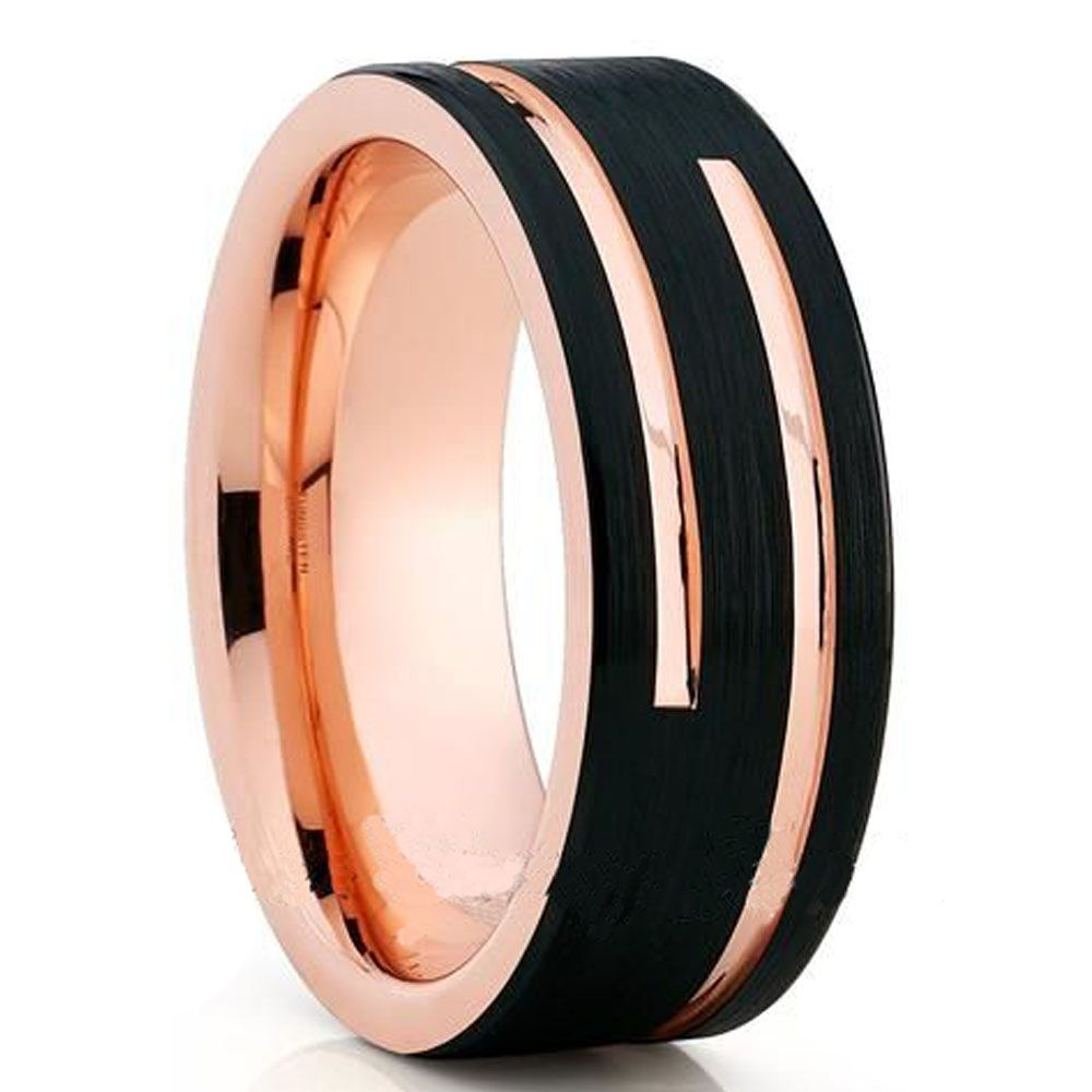 Soul Men 8mm Black With Rose Gold Color Ring For Male Tungsten Wedding Band Comfort Fit Gold Tungsten Wedding Bands Rose Gold Tungsten Rose Gold Tungsten Band