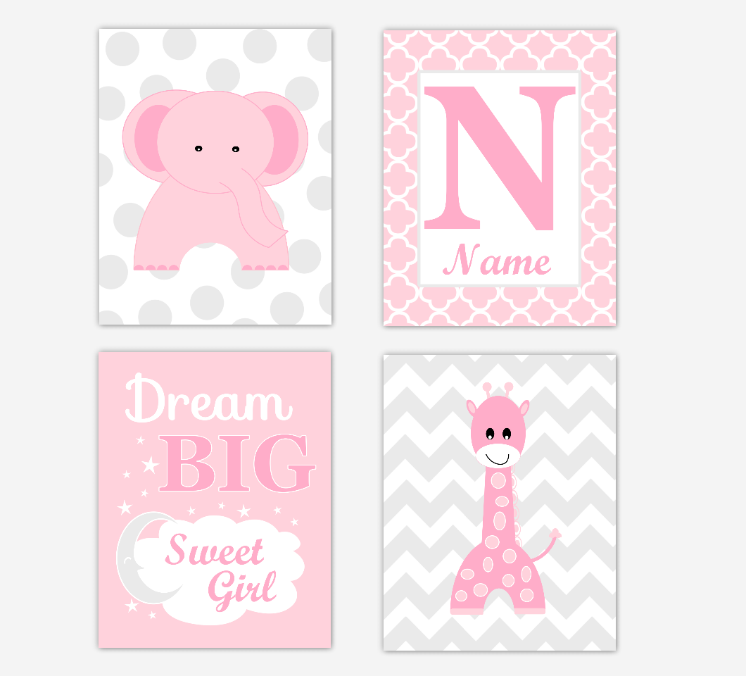 Pink Elephant Giraffe Baby Nursery Wall Art Prints Safari Personalized Decor Dream Sweet