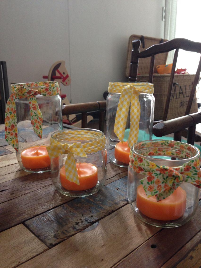 Bougeoirs : bocaux de légumes rubans bougies à la citronnelle