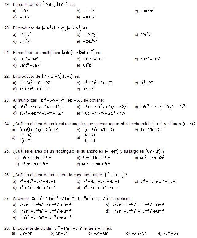 Guía De Matemáticas Para El Examen De Ingreso A La Unam Parte I Página 2 Exámen De Matemáticas Examen Universidad Matematicas