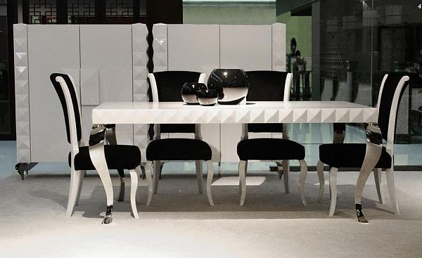 Dining Room, Fashionable Dining Table Design Plue 4 Dining Chairs Also  White Cupboard In Modern