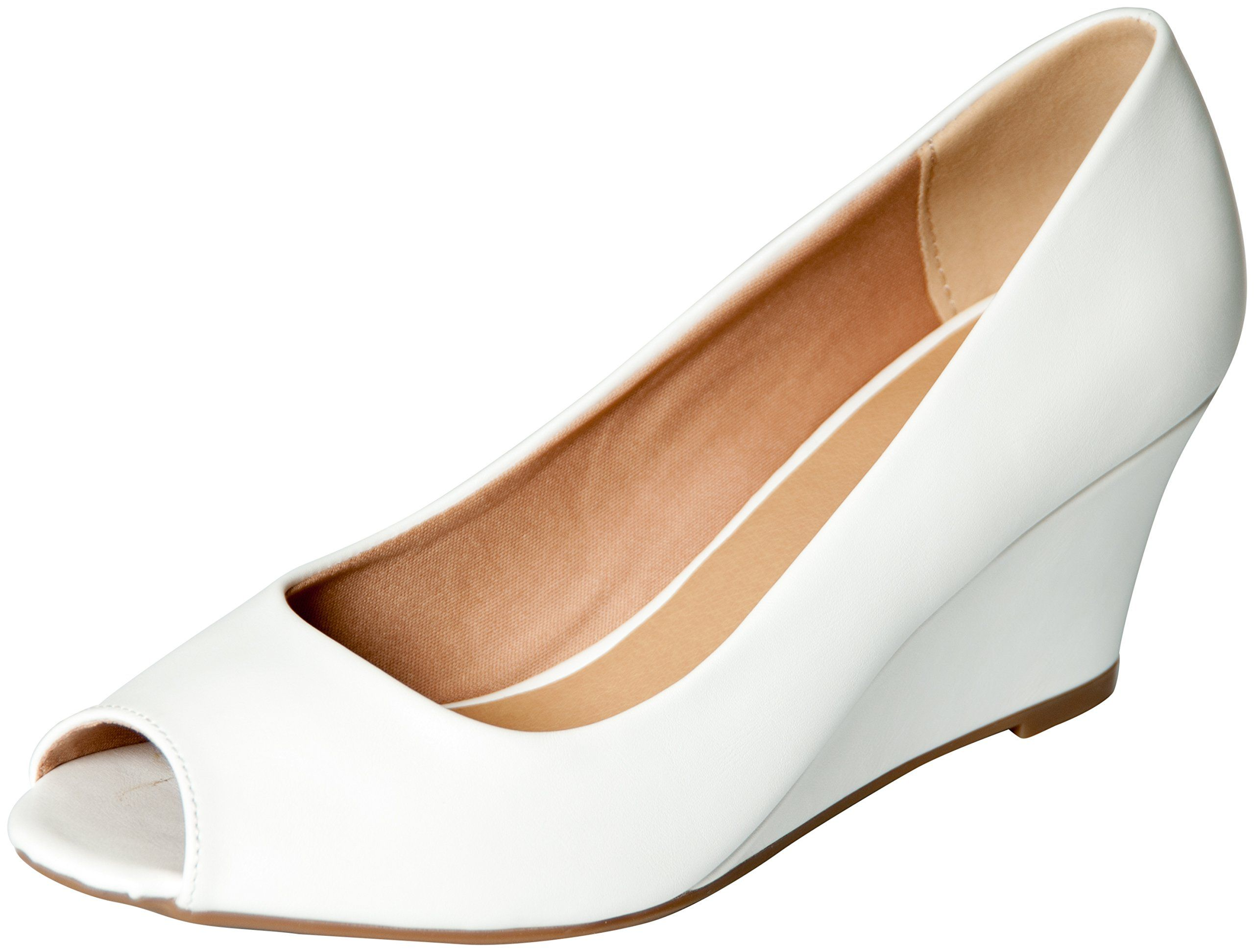 ad38a7fac Amazon.com: Forever Link Women's DORIS-23 Faux Leather Mid Heel Round Toe  Wedge Pumps: Clothing